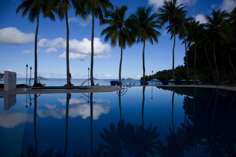 Palau Pacific Resort Pool; early morning