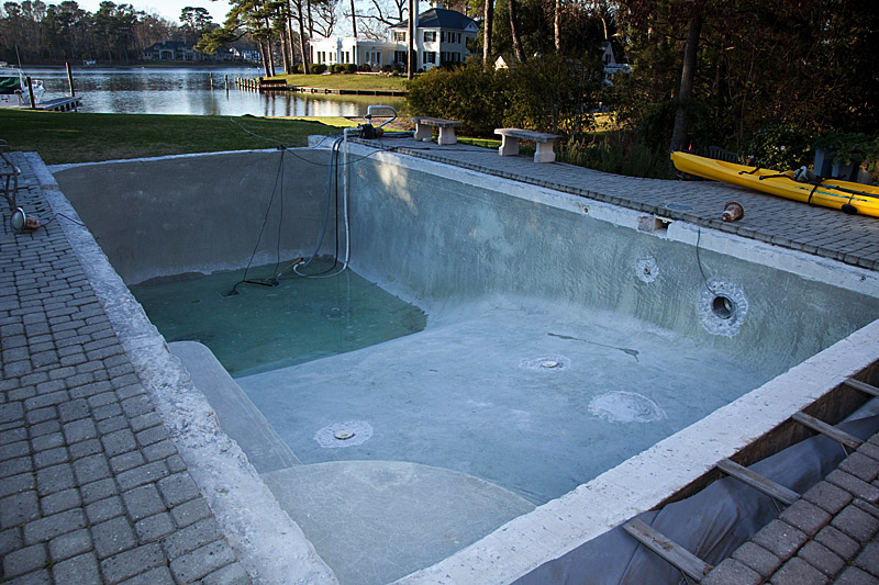 Pool damaged by nor'easter