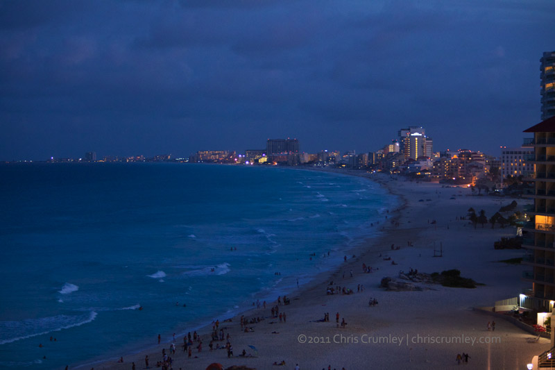 Cancun Beach Hotel Zone at Dusk