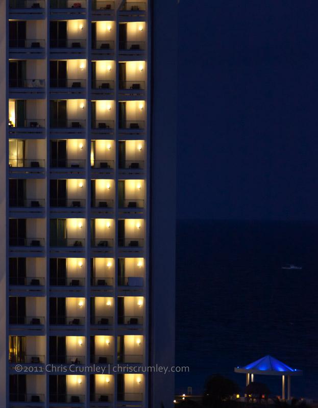 Cancun Beach Highrise at Night