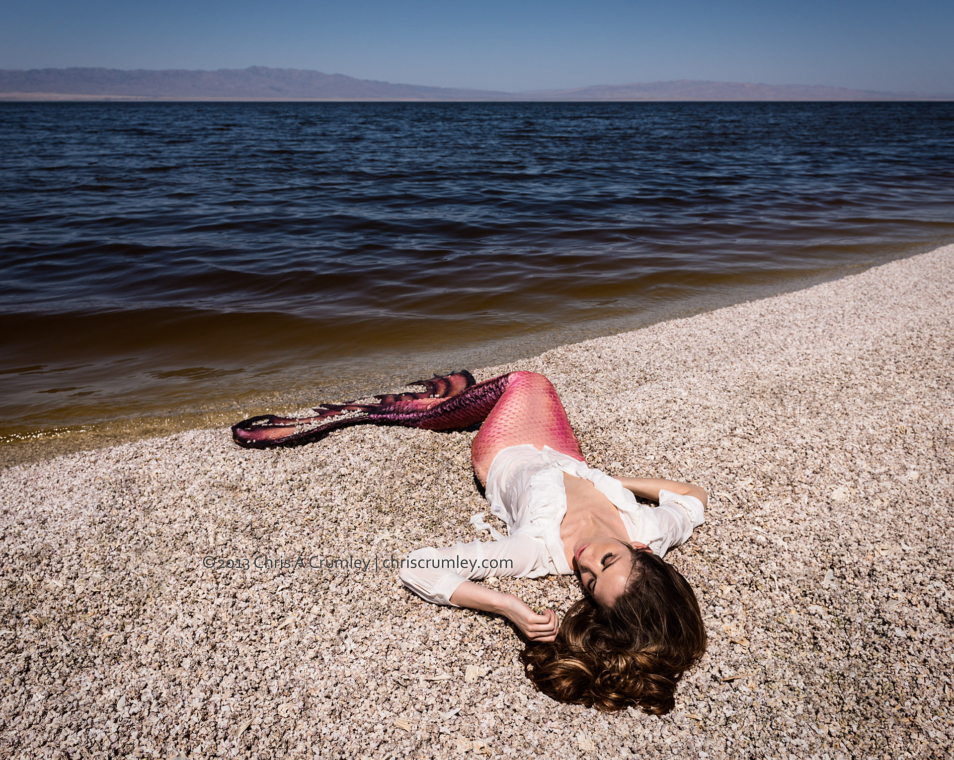 Mermaid on the edge of Salton Sea, CA