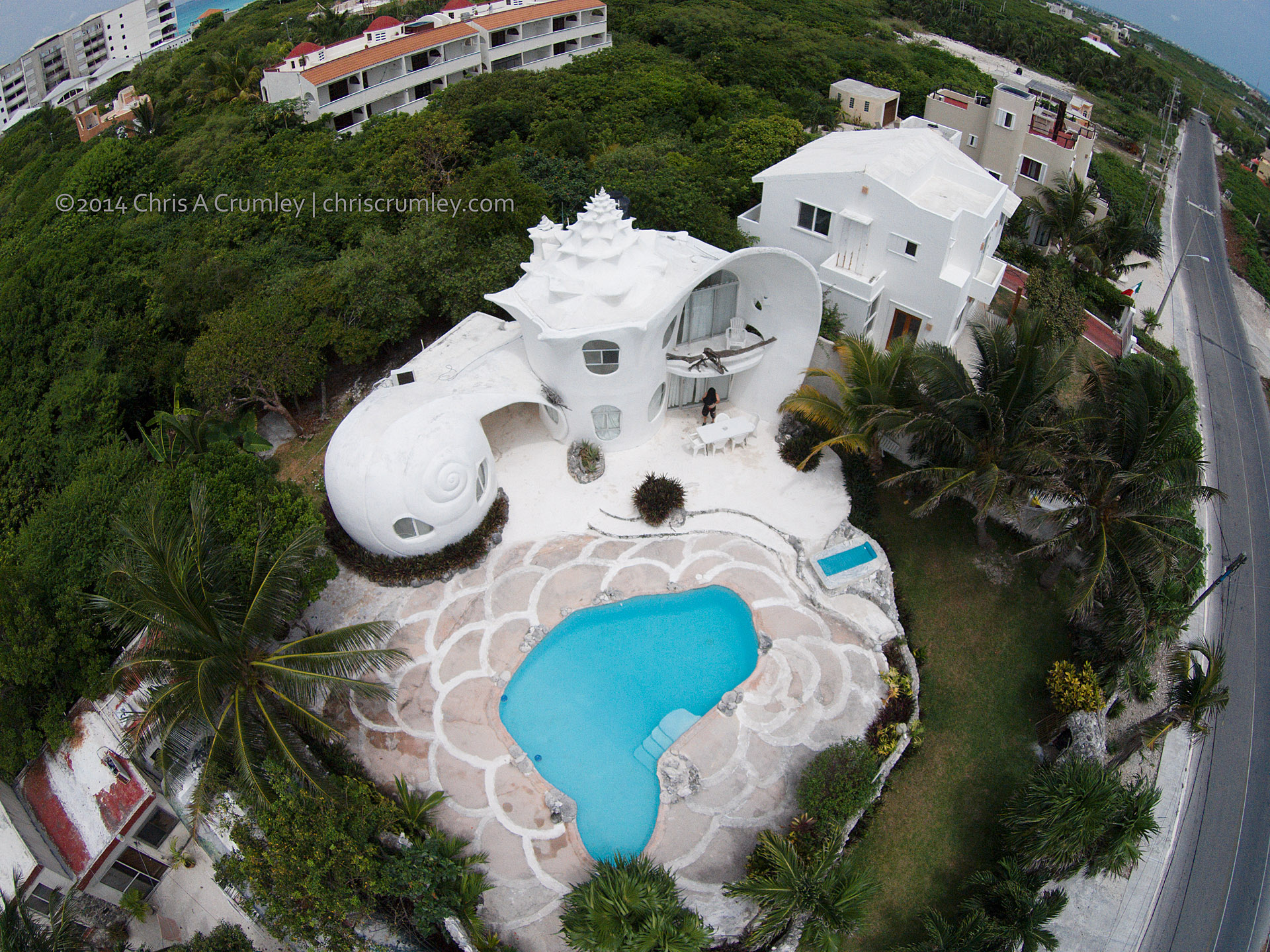 Drone Aerial of Shellhouse, Isla Mujeres, Mexico
