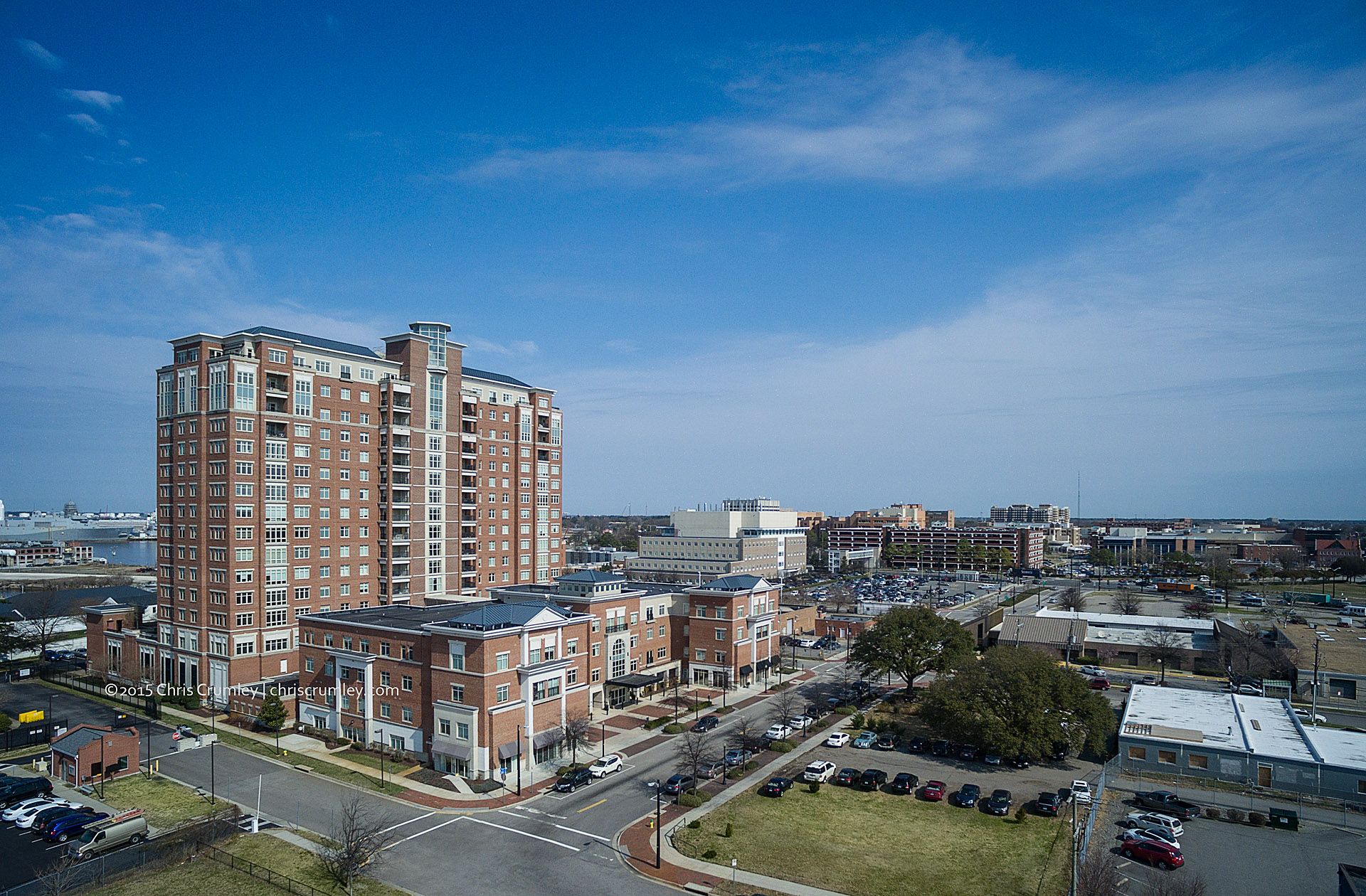 Aerial of Harbor's Edge Retirement Community in Norfolk, VA