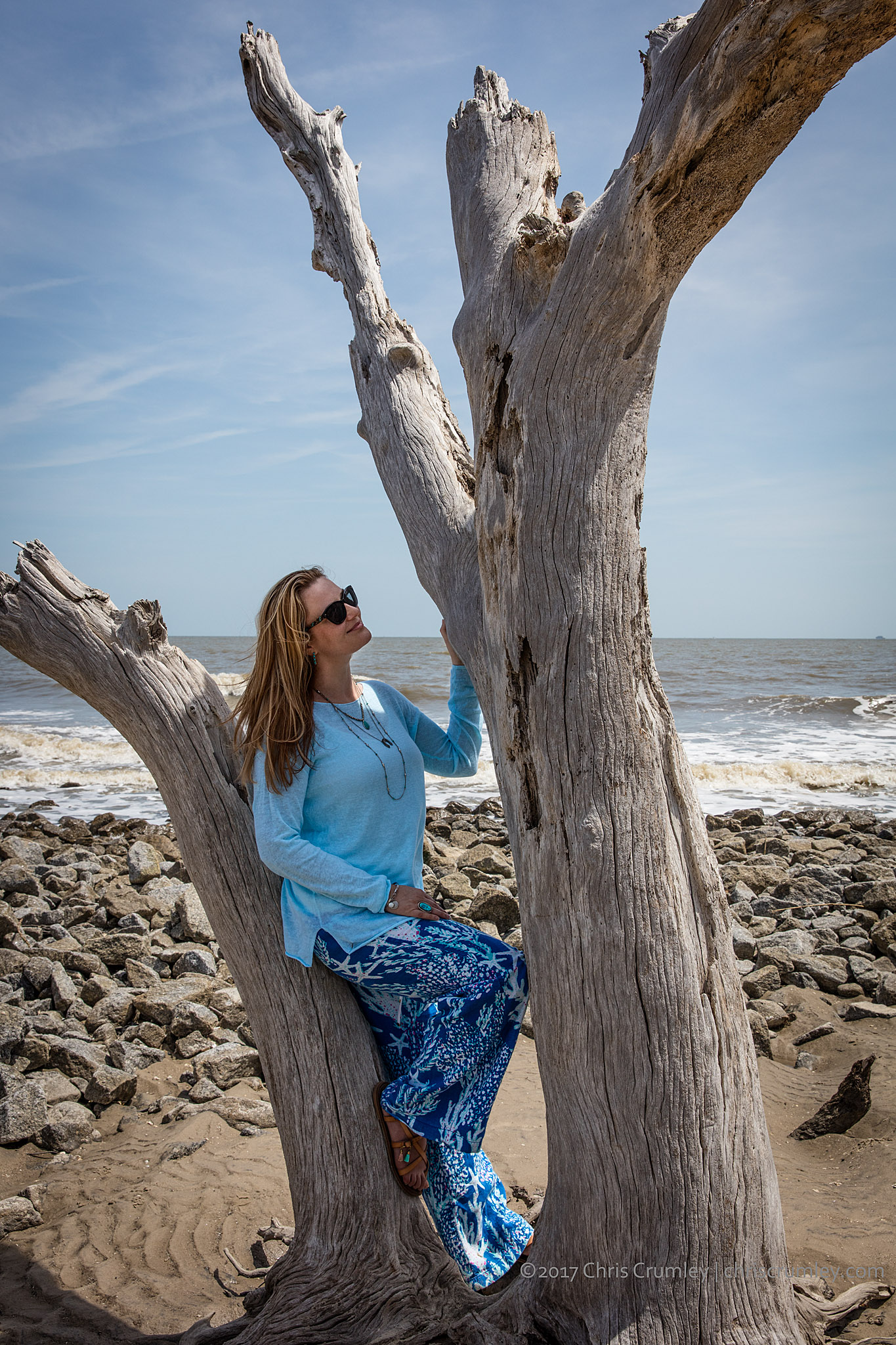 Woman on Driftwood Beach, Jekyll Island, Georgia