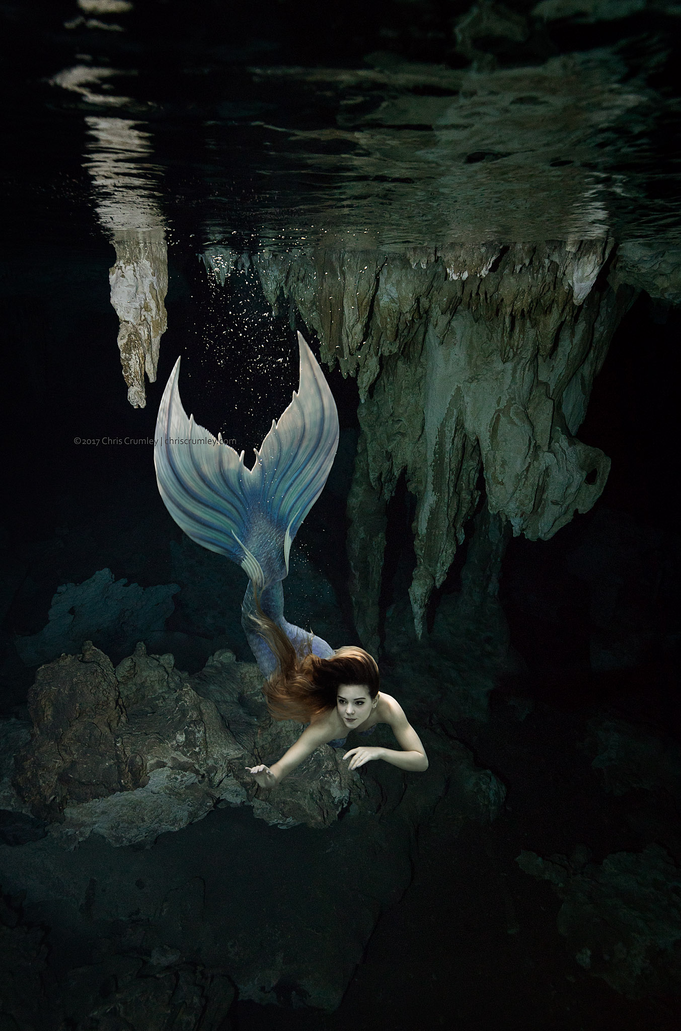 Mermaid in Dos Ojos II Cenote, Yucatan Peninsula, Mexico