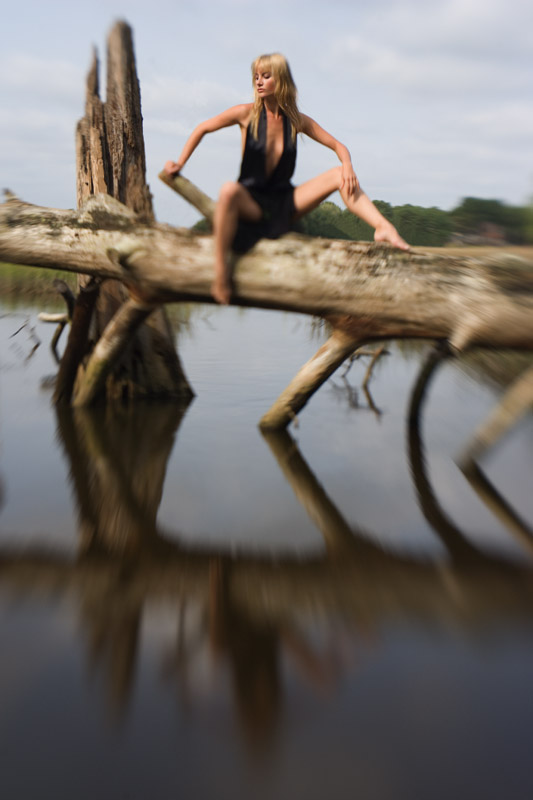 Girl on a log; Seashore/First Landing State Park