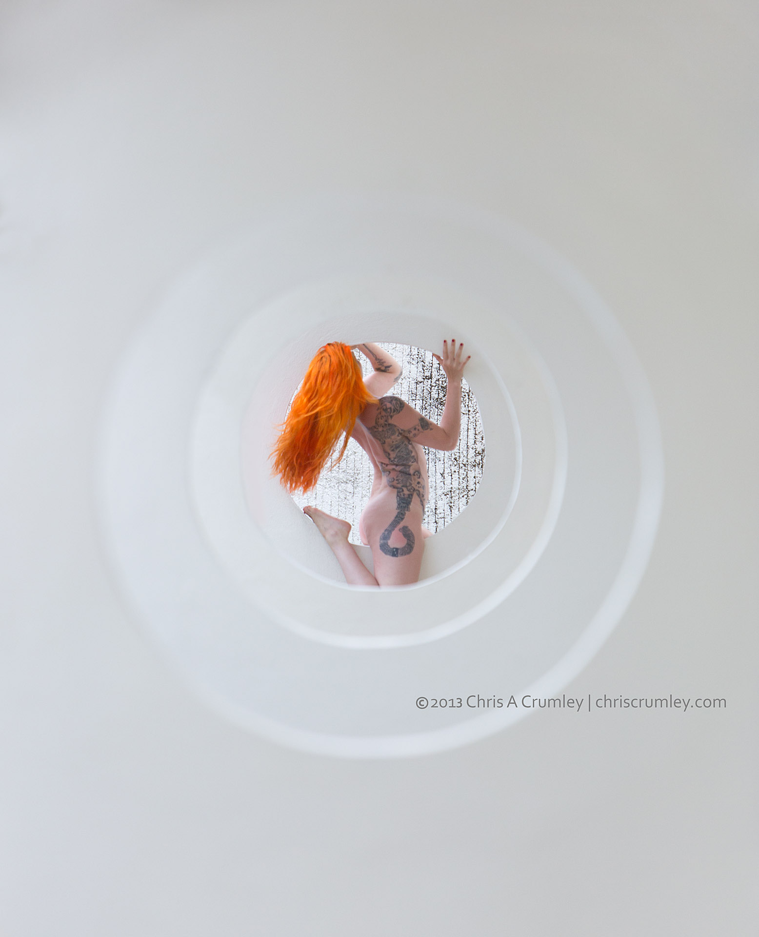 White Walls of Circles, Red Hair and Tattoo