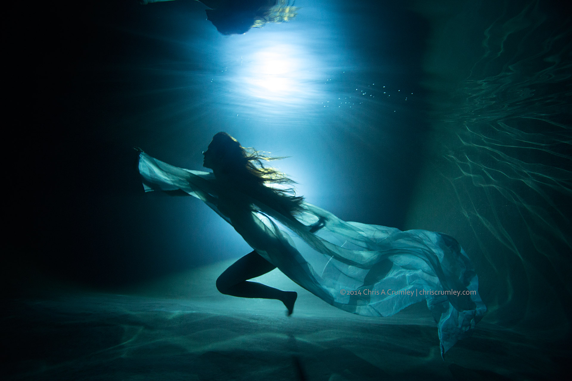 Backlit Model Underwater at Night