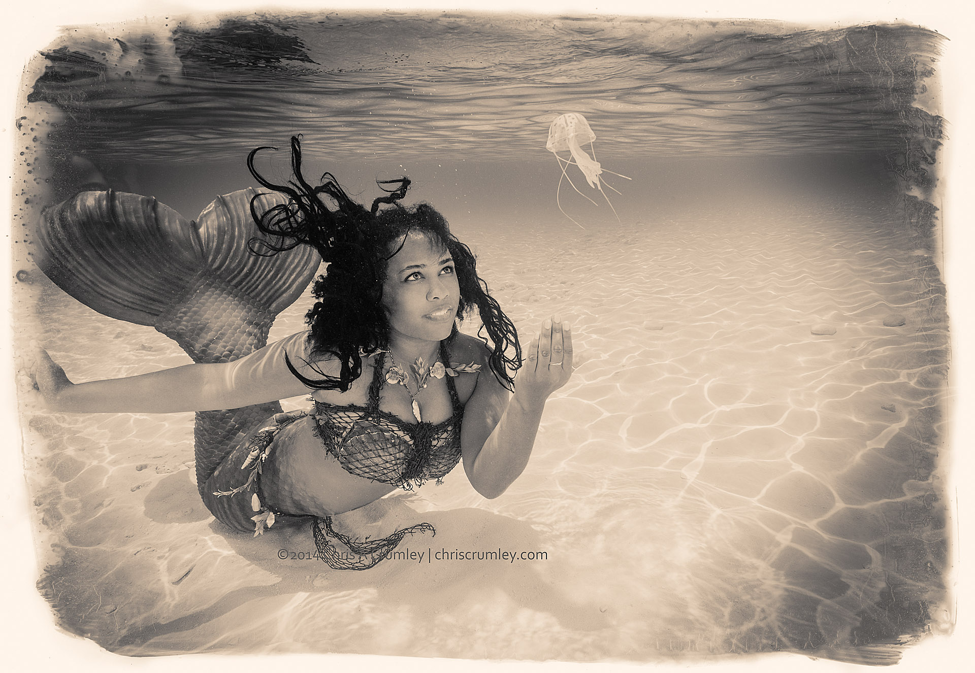 Mermaid with her pet jellyfish Kevin; MPW Exuma Cays, Bahamas Islands