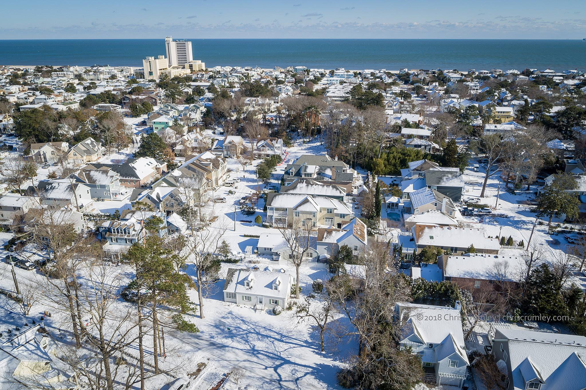 Aerial of Crystal Lake Neighborhood in the Snow